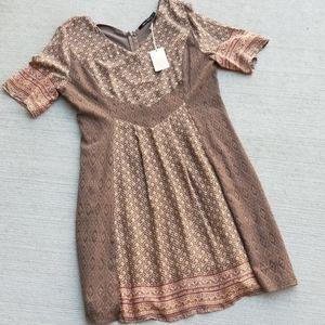 Doe & Rae Brown Floral Crochet Boho Dress size L